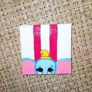"""Hand-Painted 3"""" x 3"""" Dumbo on Canvas"""